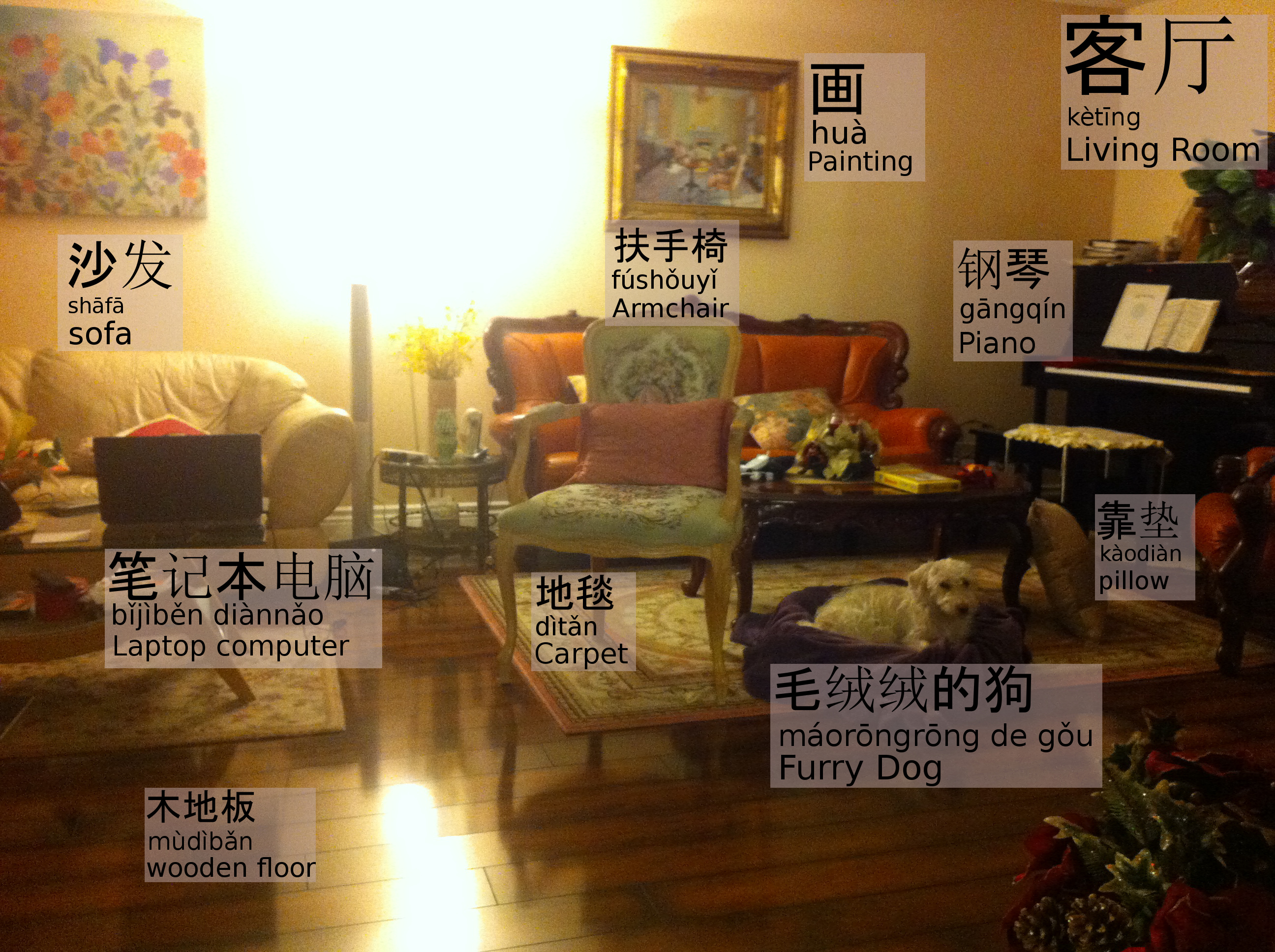 Chinese Vocabulary With Pictures 5 Living Room I Love